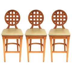Set of Three McGuire Portico Teak Barstools with Leather Cushions