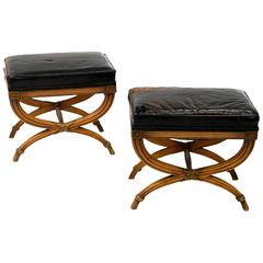 Pair of Leather and Fruitwood Neoclassical Style Benches