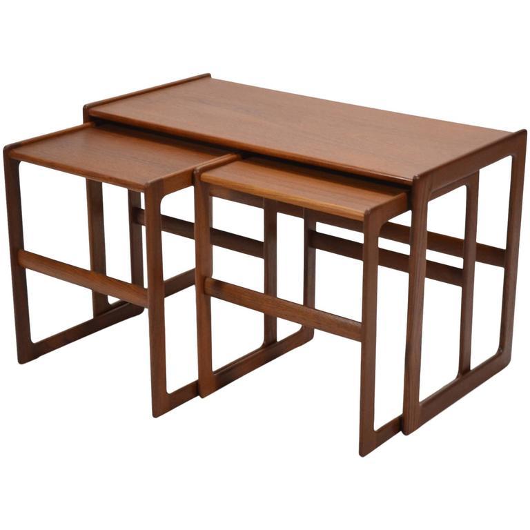 Arne Hovmand-Olsen Set of Teak Nesting Tables by Mogens Koch For Sale