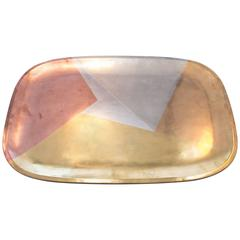 Geometric Mixed Metal Tray, Los Castillo Taxco, Mexico, 1950