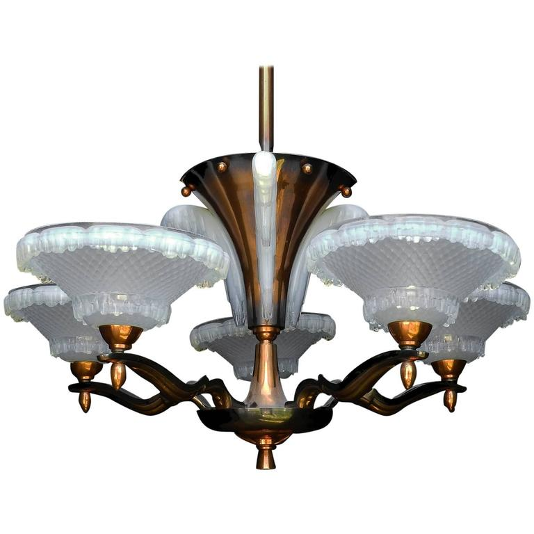 Art deco chandelier by ezan and petitot french opalescent glass and art deco chandelier by ezan and petitot french opalescent glass and copper 1930 for sale mozeypictures Gallery