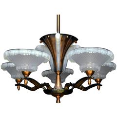 Art Deco Chandelier by Ezan and Petitot French Opalescent Glass and Copper, 1930