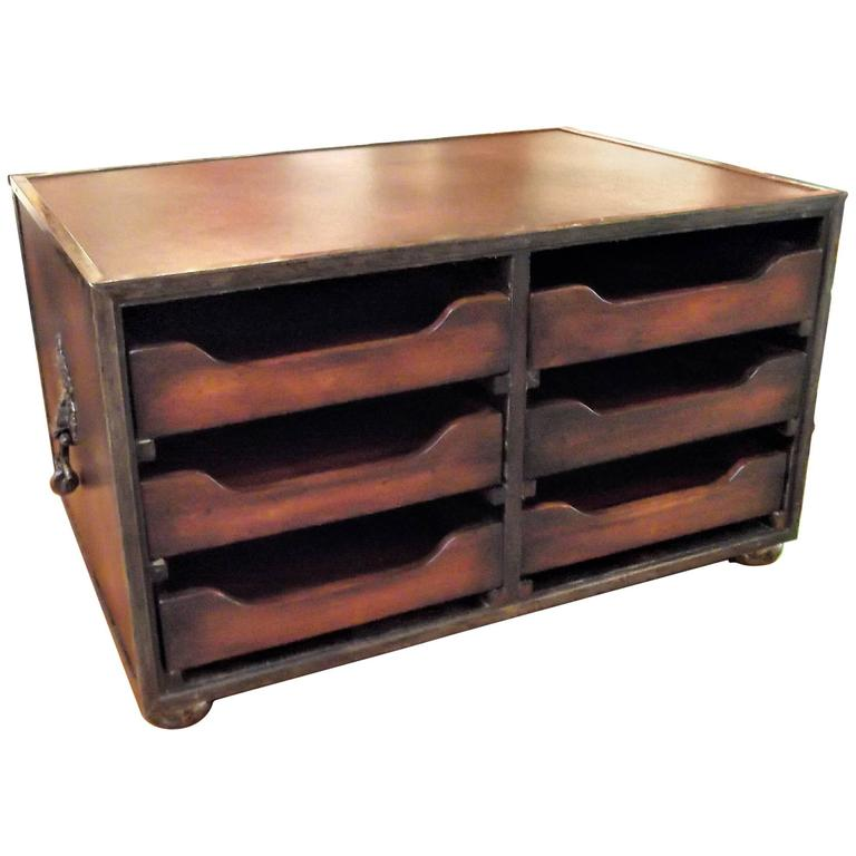 Mahogany And Leather Desk Organizer For Sale At 1stdibs