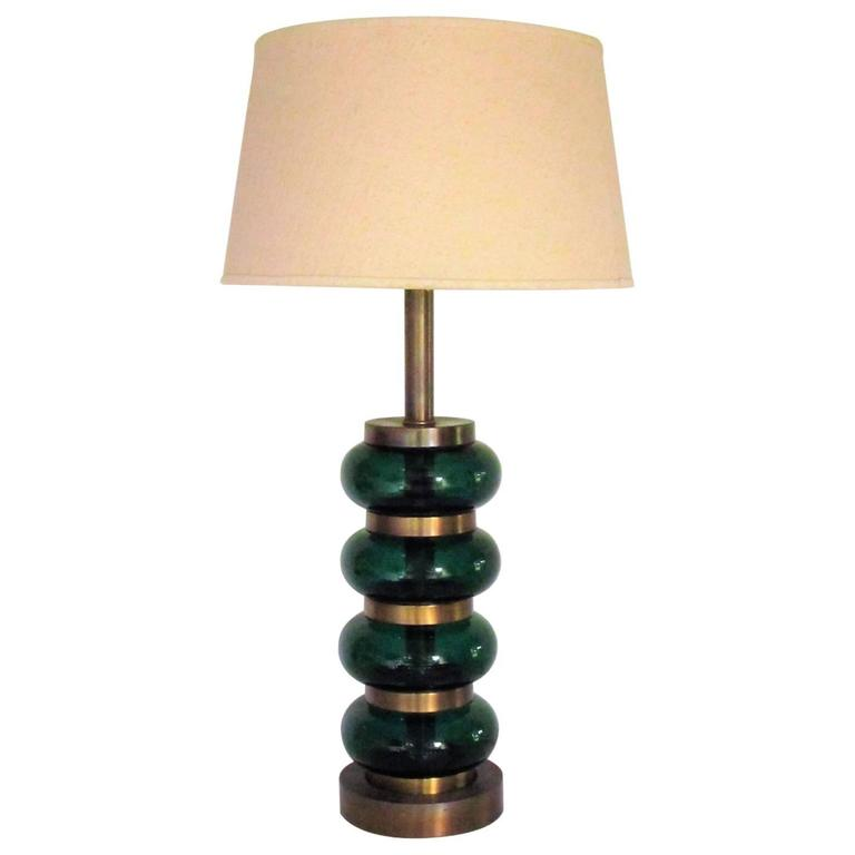 Deep Emerald Green Glass and Brass Table Lamp 1