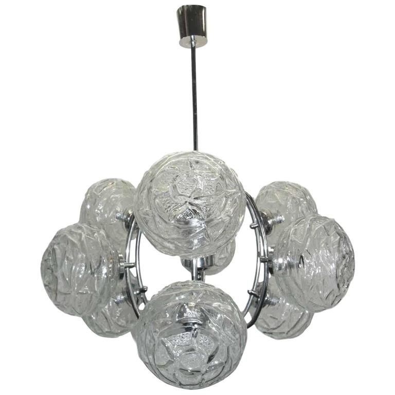 German Mid Century Modern Polished Chrome And Glass Ball Chandelier For