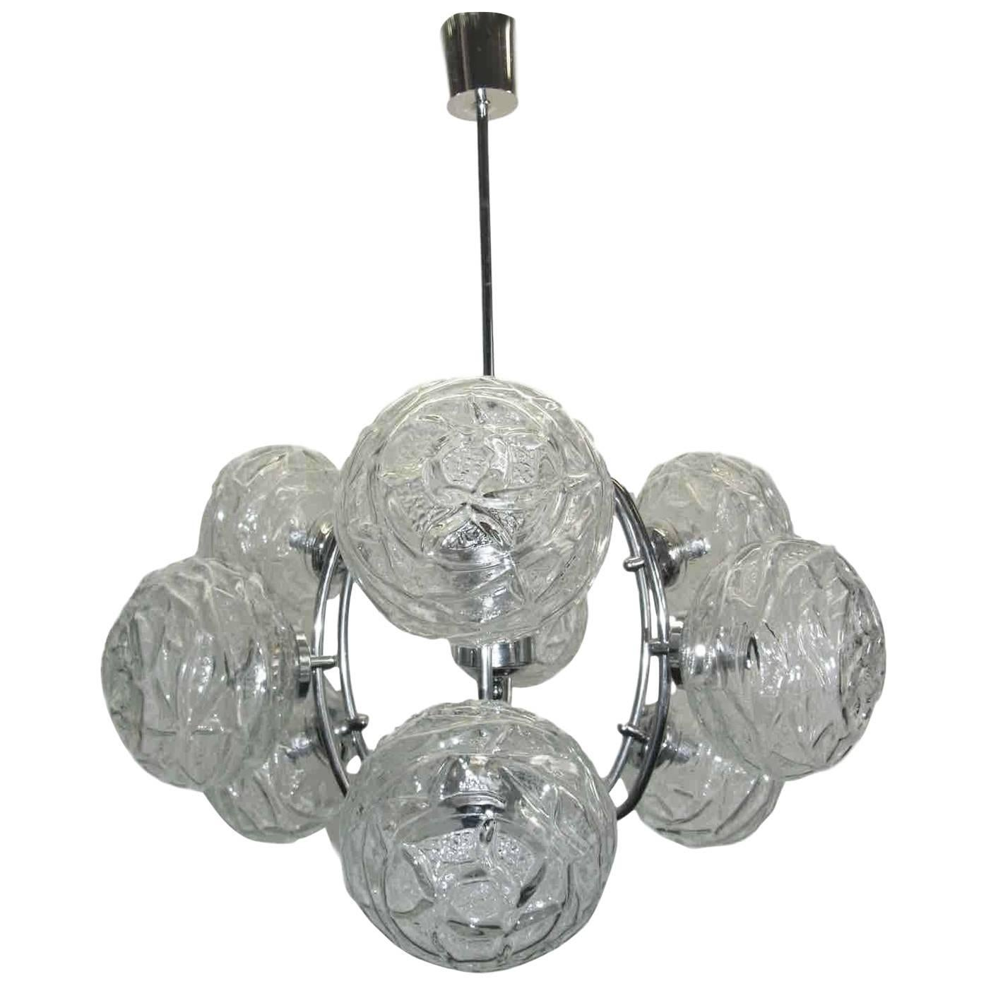 German Mid-Century Modern Polished Chrome and Glass Ball Chandelier
