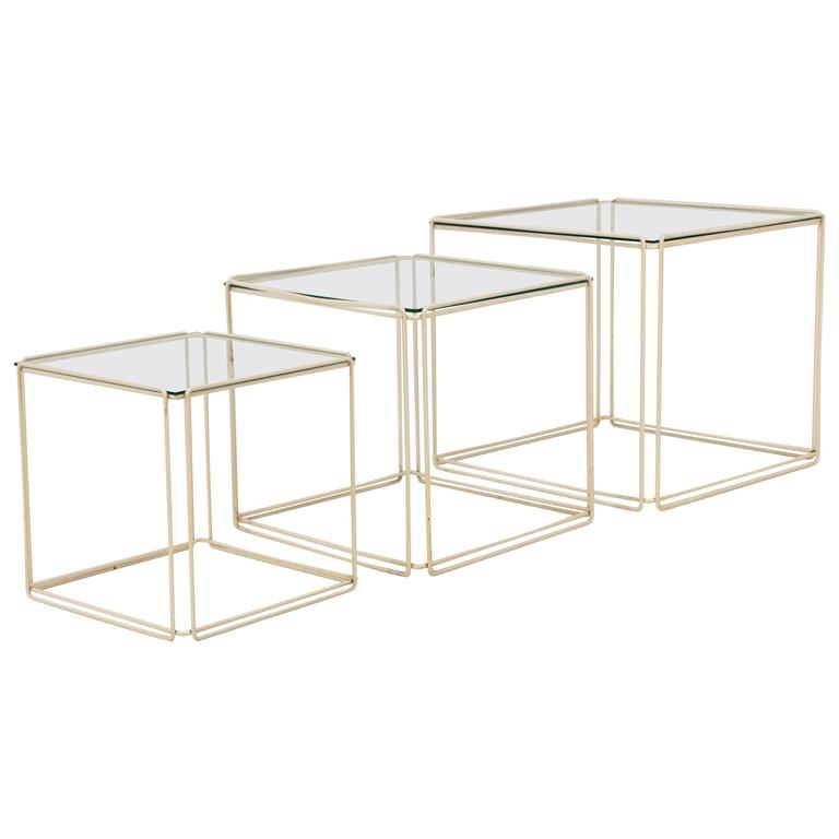 Set of Three Mid-Century Modern Metal and Glass Nesting Tables by Max Sauze