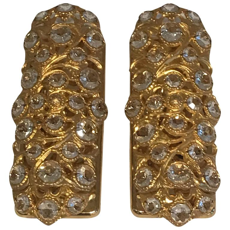 Italian Pair Gilt with Crystal Elements Sconces Wall Lights For Sale