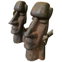 Stylized Cast Iron Easter Island Head Andirons