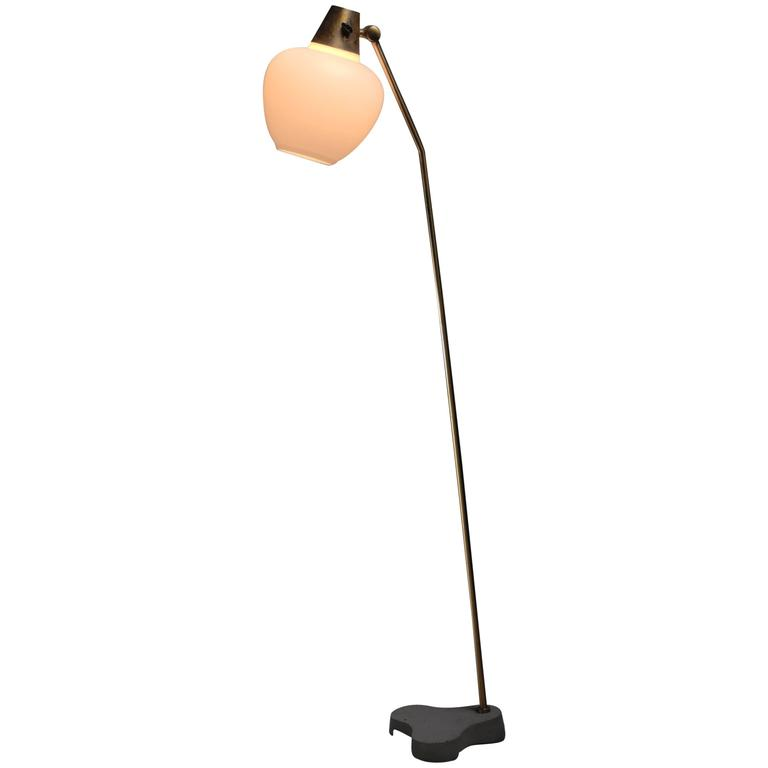 Hans Bergstrom Attributed Brass and Opaline Glass Floor Lamp, Sweden, 1950s