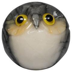 Mid-Century Italian Alabaster Owl Paperweight