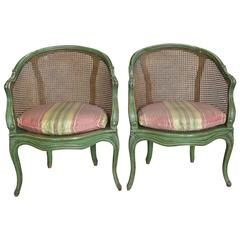 Pair of Green Painted French Chairs with Original Caning, circa 1950s