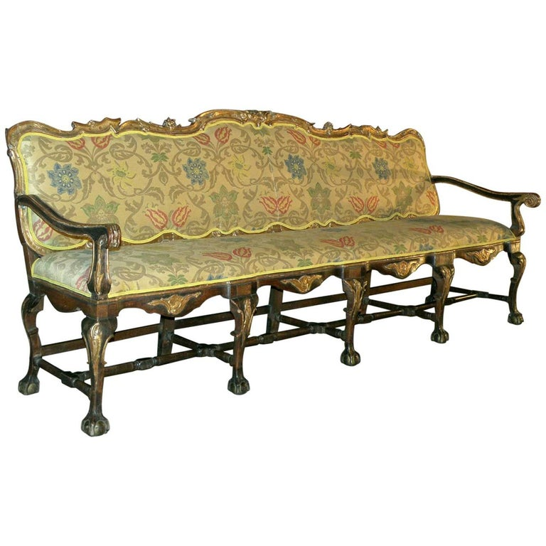 Long 18th Century Carved and Parcel-Gilt Spanish / Portuguese Settee