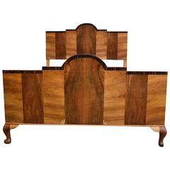 Original 1930s Odeon Art Deco English Double Bed