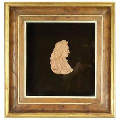 "Antique Framed English Miniature Wax Profile Cameo ""Lord Jeffreys"", circa 1890"