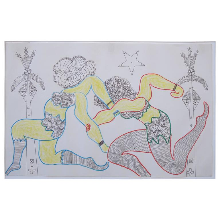 Lewis Smith Drawing of Two Women Athletes or Dancers For Sale