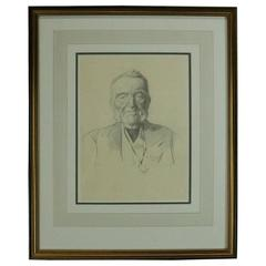 """Antique Scottish Pencil Drawing by Sir Wm. Strang """"Portrait of an Advocate"""" 1890"""
