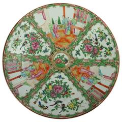 Antique Chinese Hand-Painted Rose Medallion Porcelain Charger, Late 19th C