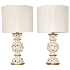Pair of Mid-Century Blanc De Chine Crackle Glazed Table Lamps