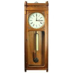 Antique German Seth Thomas Type Walnut Regulator Calendar Wall Clock, c1880