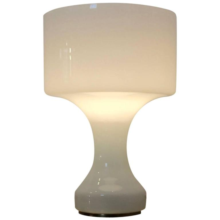 Sophisticated Snow White Venini Murano Glass XL Table Lamp, Italy, 1960s