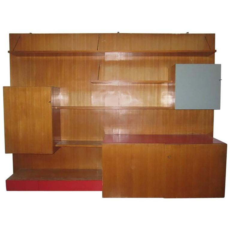 Italian Large Wood Bookcase Designed for a Private Commission in Milano, 1950s For Sale