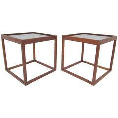Pair of Mid-Century Danish Teak Cube Form End Tables, circa 1960s