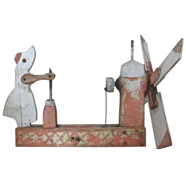 Whirligig Depicts Woman Churning Butter, American, circa 1940 For Sale