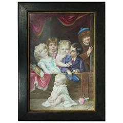 "Antique Oversized Painting on Porcelain after ""Punch & Judy"" Sgnd Pascault c1890"