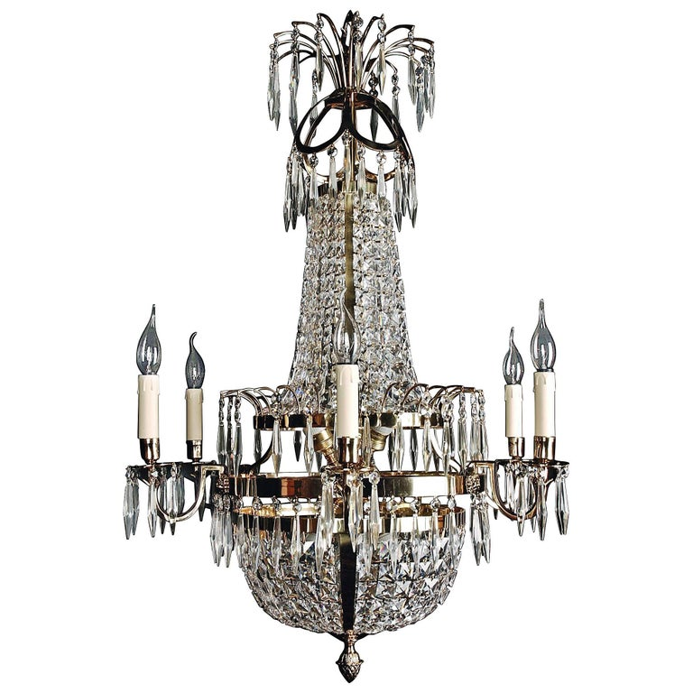 20th Century Classicist Style Swedish Empire Ceiling Candelabra For Sale