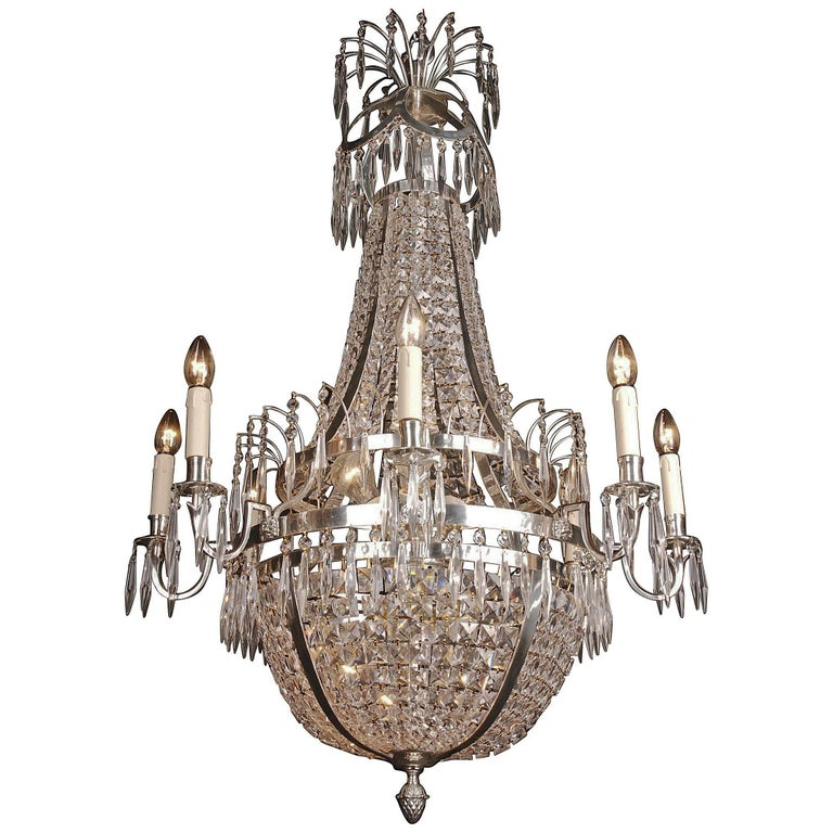 20th Century Classicist Style Swedish Empire Ceiling Candelabra Chandelier For Sale