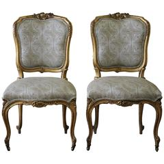 Pair of 19th Century Louis XV Carved and Upholstered Giltwood Chairs