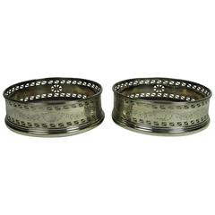 Antique Pair of 19th Century English Sterling Silver Wine Coasters