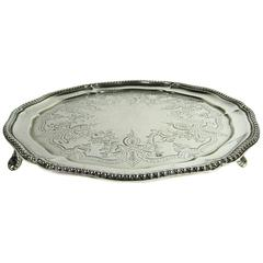 Antique 19th Century English Sterling Silver Salver