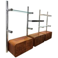 Mid-Century Burl Orba Wall Unit by Janet Schwietzer for Pace Collection