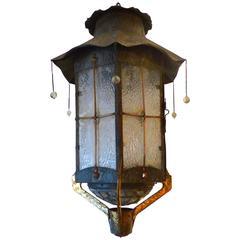Mid-Century Vintage Japanese Motif Lantern with Cranes