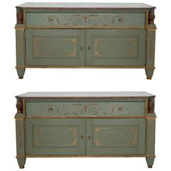 Pair of Neoclassical Style Painted Commodes