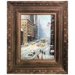 Exceptional Snowy New York City Scene Oil Painting after Guy Wiggins