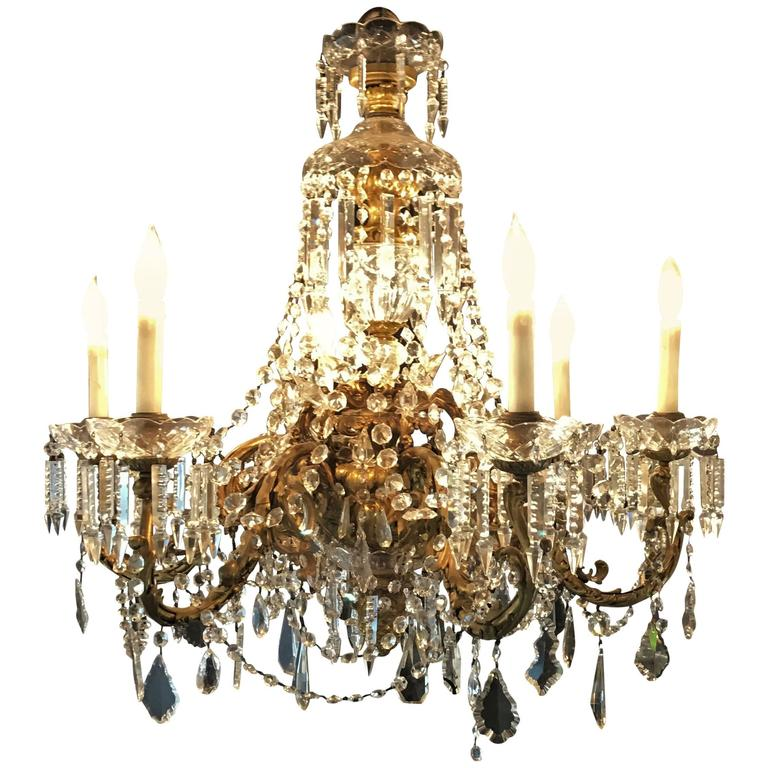 French Dore Bronze Crystal Waterfall Six-Light Chandelier Attributed to Baccarat