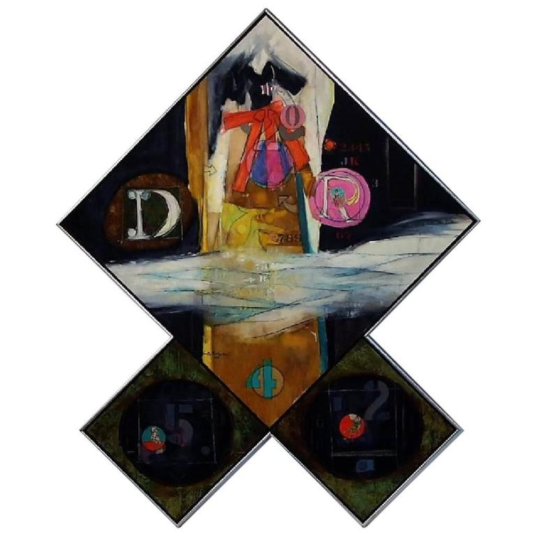 Monumental Oil on Canvas and Collage Triptych by Walter Feldman, 1975