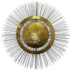 Large Brass and Steel Sunburst Wall Sculpture