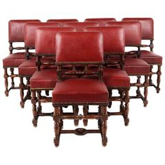 Set of Ten Matched 19th Century Solid Mahogany and Leather Chairs