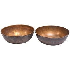 Pair of Art Deco Brass Bowls