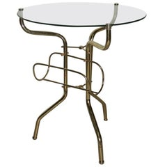 Coffee Table Made of Tubular Brass Magazine Rack