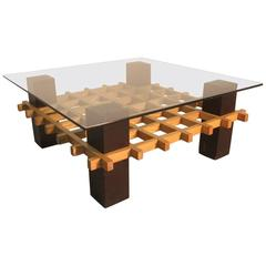 Coffee Table in Different Colors Wooden Sculpture Minimal Design 1970s