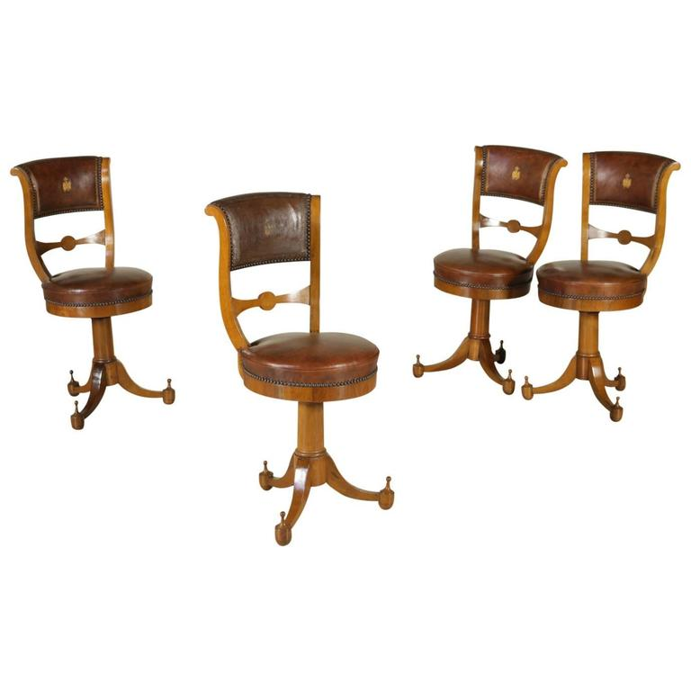 Four Early 19th Century Empire Walnut and Cherry Music Chairs Tuscany, Italy For Sale