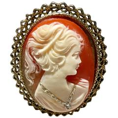 "Cameo Shell ""Girl with Diamond and Platinum Necklace"" Gold Brooch"