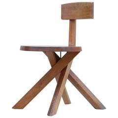 S34 Chair in Elm by Pierre Chapo, 1970s