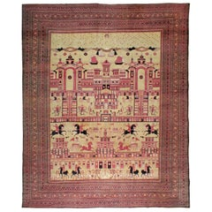 Antique Persian Pictorial Khorassan Carpet