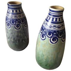 Pair of Beautiful Charles Catteau Art Deco Keramis Ceramique Vases, Belgium